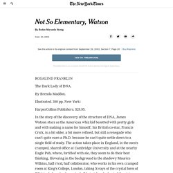 Not So Elementary, Watson