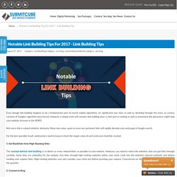 Notable Link Building Tips For 2017 - Link Building Tips