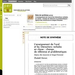 L'enseignement de l'oral et les interactions verbales en classe : champs de référence et problématiques - Aperçu des ressources en langue française par NONNON Elisabeth, 1999