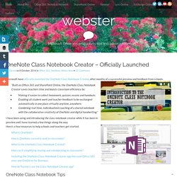 OneNote Class Notebook Creator - Officially Launched - webster