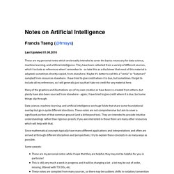Notes on Artificial Intelligence