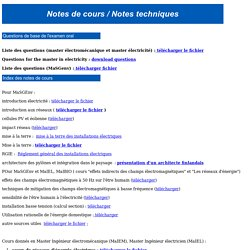 Notes de cours / Notes techniques