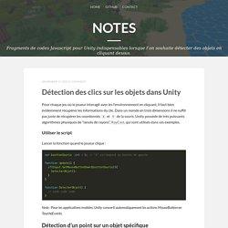 Notes — Détection des clics sur les objets dans Unity