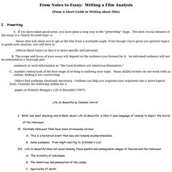 From Notes to Essay: Writing a Film Analysis