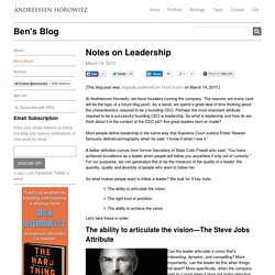 Notes on Leadership