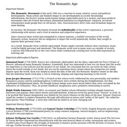 Notes on the Romantic Age