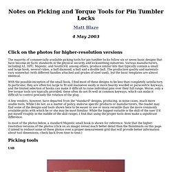 Notes on Picking and Torque Tools for Pin Tumbler Locks