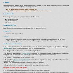 Notes sur la communication orale