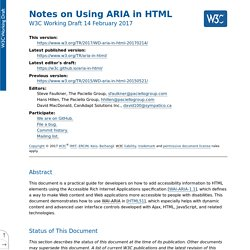 Notes on Using ARIA in HTML