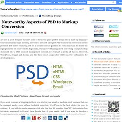 Noteworthy Aspects of PSD to Markup Conversion