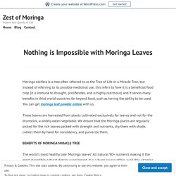 Nothing is Impossible with Moringa Leaves – Zest of Moringa