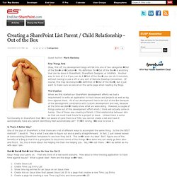 Creating a SharePoint List Parent / Child Relationship - Out of the Box
