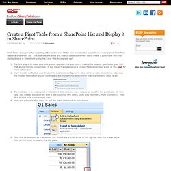 Create a Pivot Table from a SharePoint List and Display it in SharePoint | EndUserSharePoint.com