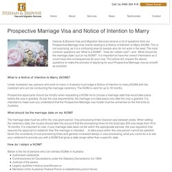 Prospective Marriage Visa and Notice of Intention to Marry