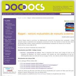 Rappel : notices mutualisées de manuels scolaires 2014