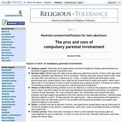 Parental Consent and Notification Laws for Teen Abortions: Pro and Con