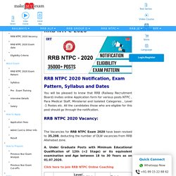 RRB NTPC 2020: Notification, Exam Date