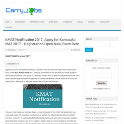 KMAT Notification 2017, Register now for Karnataka MAT 2017 Exam Date