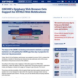 GNOME's Epiphany Web Browser Gets Support for HTML5 Web Notifications