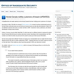 Honda Canada notifies customers of breach (UPDATED)