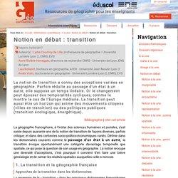 Notion en débat : transition