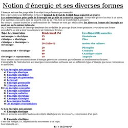 Notion d'énergie et ses diverses formes