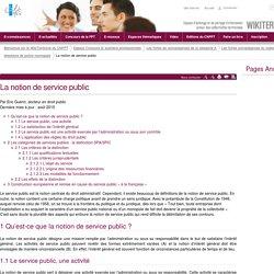 La notion de service public. CNFPT. Wikiterritorial.cnfpt.fr