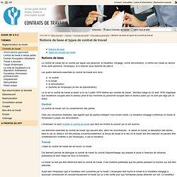 Notions de base et types de contrat de travail - Service public fédéral Emploi, Travail et Concertation sociale
