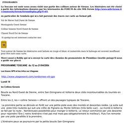NOTRE ITINERAIRE toscane