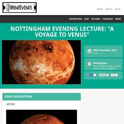 25 Nov: Nottingham evening lecture about Venus, Nottingham Trent University