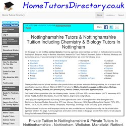 Nottinghamshire Tutors, Nottingham Private Tutors, Private Tuition Nottingham. Biology Tutors In Nottingham & Chemistry Tutors In Nottingham.