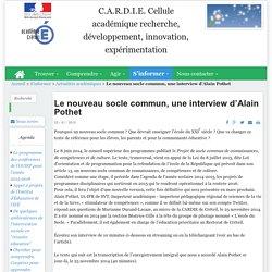 Le nouveau socle commun, une interview d'Alain Pothet