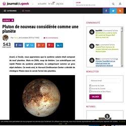 Pluton de nouveau considérée comme une planète