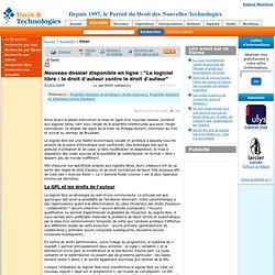 """Nouveau dossier disponible en ligne : """"Le logiciel libre : le droit d'"""