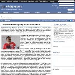 Le nouveau métier enseignant publié au Journal officiel