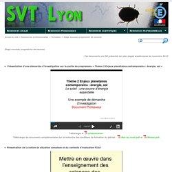 SVT Lyon [Stage nouveau programme de seconde]