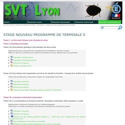 Stage nouveau programme de Terminale S - SVT Lyon