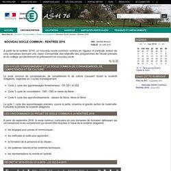 ASH 76 - Nouveau Socle Commun - Rentrée 2016