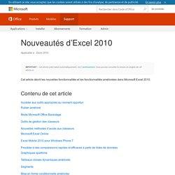 Nouveautés d'Excel2010 - Excel