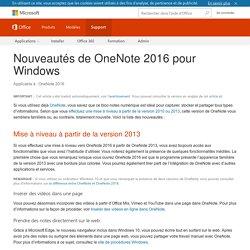 Nouveautés de OneNote2016 pour Windows - OneNote