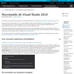 Nouveautés de Visual Studio2015