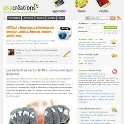 HTML5 : Nouveaux éléments de section, article, header, footer, aside, nav