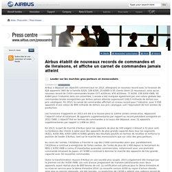 Airbus établit de nouveaux records de commandes et de livraisons, et affiche un carnet de commandes jamais atteint