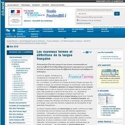 Les nouveaux termes et définitions de la langue française