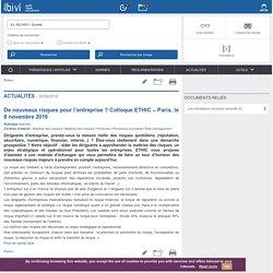 De nouveaux risques pour l'entreprise ? Colloque ETHIC – Paris, le 8 novembre 2016 - Bivi - Qualite