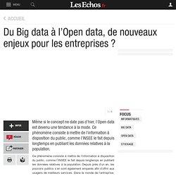 Du Big data à l'Open data, de nouveaux enjeux pour les entreprises ?