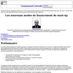 Les nouveaux modes de financement de start-up