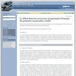Le débat dans les nouveaux programmes français du primaire (septembre 2008)