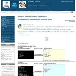 Outil pour la nouvelle notation algorithmique - IREM de la Réunion