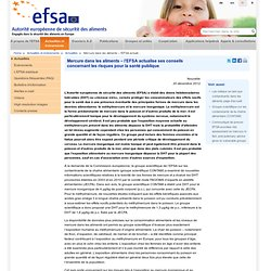 EFSA 20/12/12 Mercury in food – EFSA updates advice on risks for public health